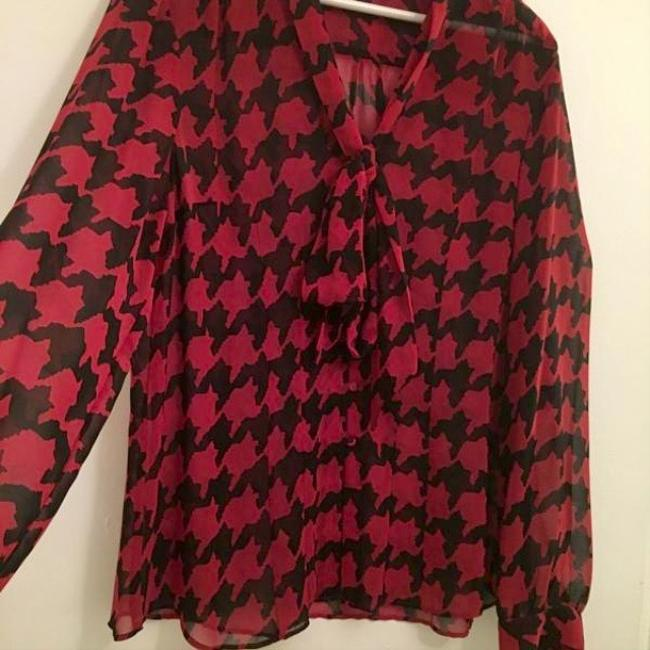 Tahari Top Burgandy / Black