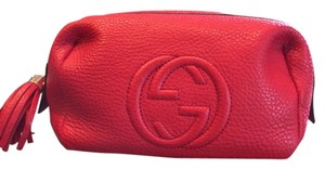 Gucci GUCCI SOHO LEATHER COSMETIC BAG RED LEATHER MEDIUM SIZE