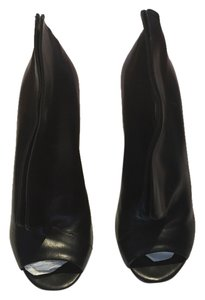 Maison Margiela Peep Toe Wedge Heel Black Boots