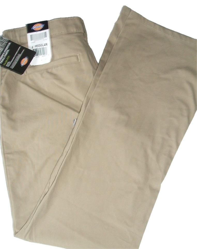 brand new shopping newest style Dickies Women's Slim Fit Mid Rise Boot Cut Khakis Chino Khaki New Pants  Size 8 (M, 29, 30)