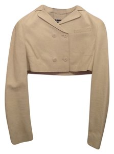 Jil Sander Chic Cropped Ivory/Off White Leather Jacket