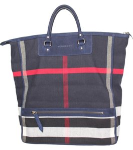 Burberry Nova Check Tote in Navy blue red