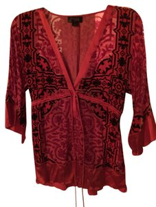 Hale Bob Silk Beaded Velvet Red New With Tags Tunic
