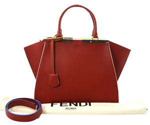 Fendi Red Leather Hand New Christmas Gift Tote in RED/RUST