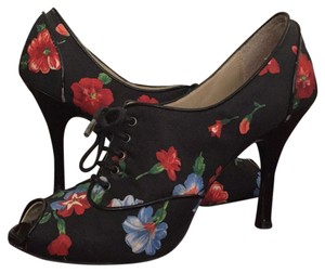 Paolo Black floral print Boots