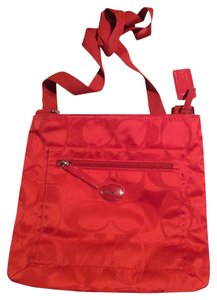 Coach Signature Nylon File Red Cross Body Bag