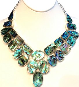 Spectacular Abalone 925 Sterling Silver Statement Bib Necklace
