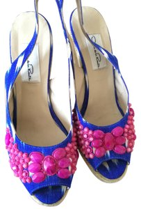 Oscar de la Renta Blue Wedges