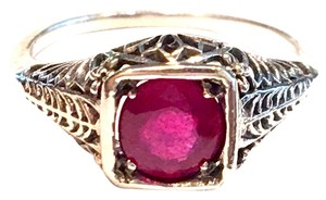 Natural Ruby 925 Solid Sterling Silver Edwardian Style Filigree Ring