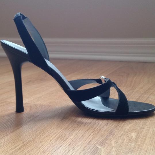 BCBG Paris Stiletto Jeweled Strappy Open Toe Black Formal