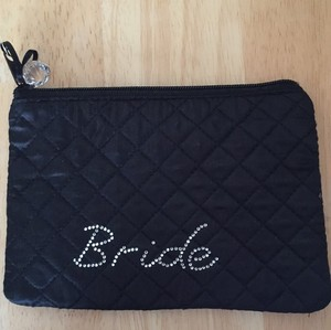 Black & Rhinestone Chic Bride Cosmetic Bag. Bridal Handbag