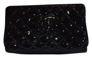 Chanel Leather Evening black patent Clutch