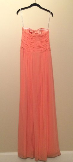 Donna Morgan Peach Fuzz Polyester Chiffon Audrey Formal Bridesmaid/Mob Dress Size 6 (S)