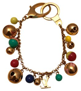 Louis Vuitton LV Multicolor Grelots Bag Charm Bracelet Keychain Gold Hardware Box & Dustbag EUC