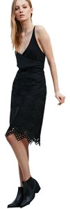 Little White Lies Lace Knee Length Skirt BLACK