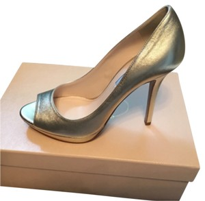Prada Open Toe Gold Pumps