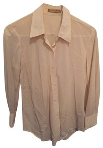 Donna Karan Classic Silk Signature Longsleeve Button Down Shirt Taupe