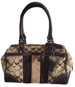 Coach Limited Edition Signature Print Suede Stripes Satchel in Brown, khaki and light brown