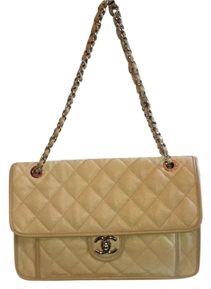 f05e86a650cf Chanel French Riviera Beige Caviar Shoulder Bag ...