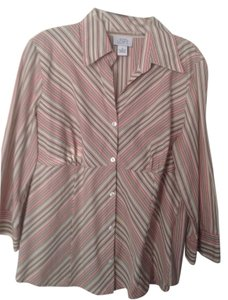 Ann Taylor LOFT Button Down Shirt Pink/ tan/brown stripe