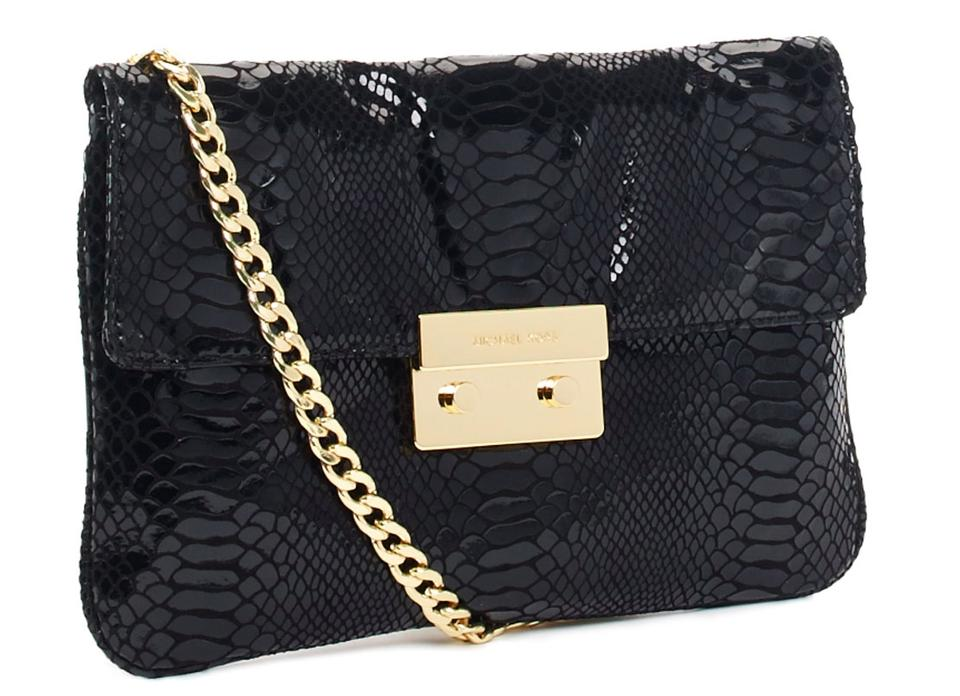 475573f7344c MICHAEL Michael Kors Python Embossed Gold Chain Purse Black Leather Clutch