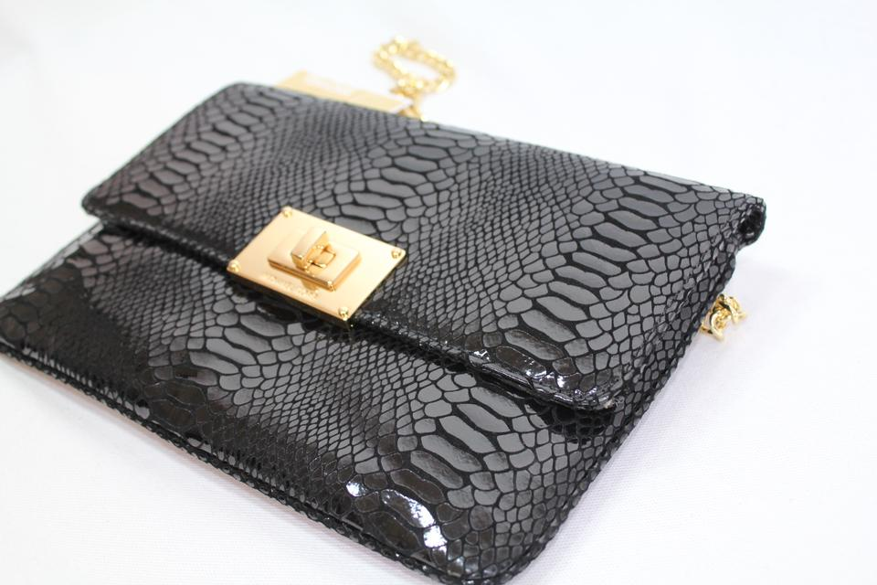 848e66db9a94 MICHAEL Michael Kors Python Embossed Gold Chain Purse Black Leather Clutch  - Tradesy