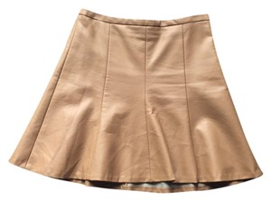 The Limited Leather Look Faux Leather Leather Camel Mini Skirt Camel beige