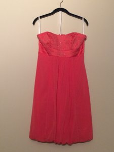 David's Bridal Coral Chiffon / Satin Strapless Beaded Bubble F13128 Formal Bridesmaid/Mob Dress Size 8 (M)
