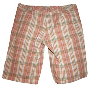 Roxy Colorful Plaid Bermuda Shorts Tan, Pink, Mint Green