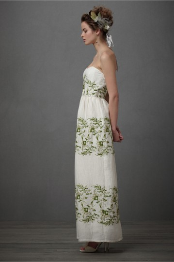 BHLDN Ivory with Green and Gold Silk Linen Shell. Silk Charmeuse Lining. Frondescence Casual Wedding Dress Size 10 (M) Image 7