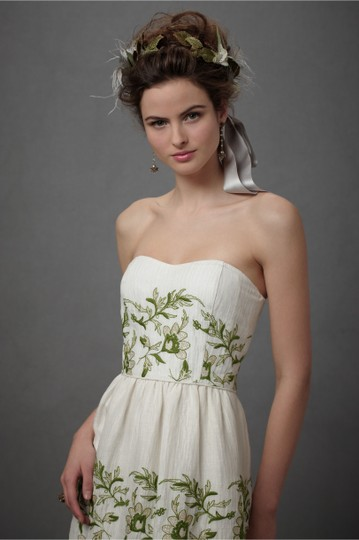BHLDN Ivory with Green and Gold Silk Linen Shell. Silk Charmeuse Lining. Frondescence Casual Wedding Dress Size 10 (M) Image 8