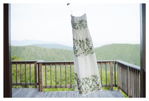 BHLDN Ivory with Green and Gold Silk Linen Shell. Silk Charmeuse Lining. Frondescence Casual Wedding Dress Size 14 (L)