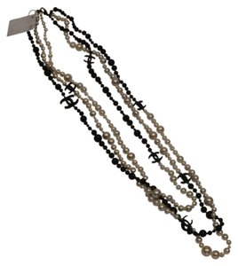 Chanel Long Pearl Ivory Black Cc Logo Necklace Classic