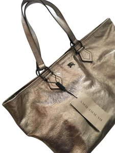 Burberry Metallic Leather Lightweight Tote in Gold/Silver