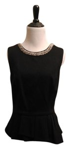 White House | Black Market Jeweled Neckline Top Black