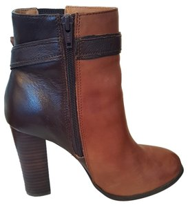 ALDO Chunky Heel Round Toe Brown Leather Boots