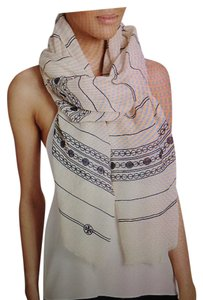 Tory Burch TORY BURCH NWT IVORY AND NAVY EMBROIDERED LINEN SCARF