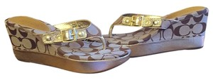 Coach Brown/Gold Wedges