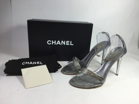 Chanel Leather Vinyl Silver Sandals