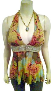 Weston Wear Small Size Small Beaded Sequins Designer Layered Lined P708 green, orange, brown, blue Halter Top
