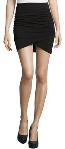 James Perse Pima Cotton Wrap Style Mini Skirt Blac