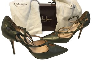 Cole Haan Stiletto Heels $15 OFF Moss Metallic all leather ankle straps with box and dustbags Italian Pumps