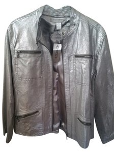 Chico's Leather Silver Metallic Biker Pewter Leather Jacket
