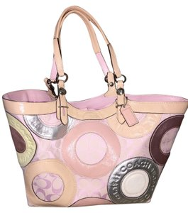 Coach Leather Soft End Pockets Tote in Pink