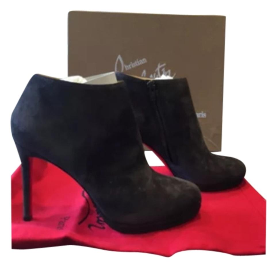 Christian 100mm Louboutin Taupe Bella Top 100mm Christian Suede Platform 38 Boots/Booties eea57f