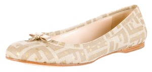 Fendi Grey Gold Ivory Canvas Grey, Gold, White Flats
