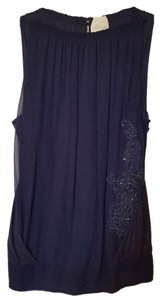 Anthropologie Halter Sequin Top Navy blue
