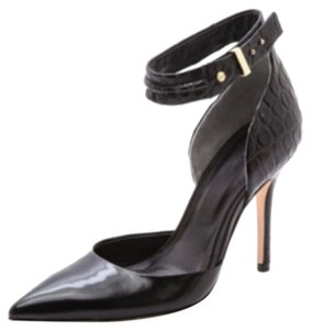 Rachel Roy D'orsay Ankle Strap Crocodile Leather Black Formal