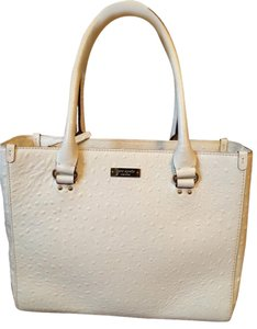 Kate Spade Ostrich Like New Satchel Tote in Ivory