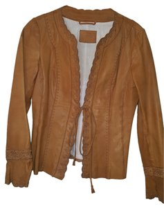Embroidered Leather Handmade Camel Leather Jacket